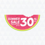 Summer Sale 30% off. Vector triangular background with watermelo Stock Photography