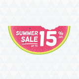 Summer Sale 15% off. Vector triangular background with watermelo Royalty Free Stock Photo