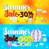 Summer Sale 30 Off Web Banners Travel Blur Royalty Free Stock Images
