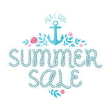 Summer sale offer with ahchor,roses and leaves Stock Image