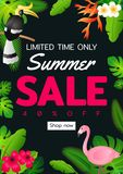 Summer sale offer banner decorative element with its symbol,modern and fashionable design vector illustration