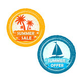 Summer sale and offer with palms and boat signs, round drawn  Royalty Free Stock Image