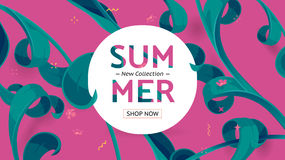 Summer sale offer with text and tropical leaves in a collage style. New collection offer. Button, festive frame decoration with abstract floral elements. Mother` Royalty Free Stock Photography