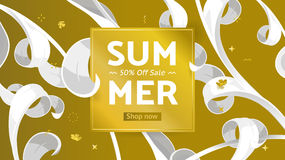Summer sale offer with text and tropical leaves in a collage style. Offer 50 percent off. Button, festive frame decoration with abstract floral elements. Mother Royalty Free Stock Images