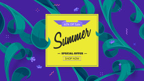Summer sale offer with text and tropical leaves in a collage style. Offer 60 percent off. Stock Photography