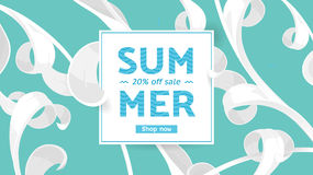 Summer sale offer with text and tropical leaves in a collage style. Offer 20 percent off. Royalty Free Stock Photography
