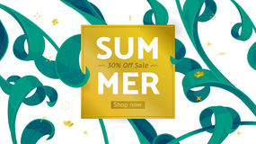 Summer sale offer with text and tropical leaves in a collage style. Offer 30 percent off. Stock Image