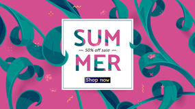 Summer sale offer with text and tropical leaves in a collage style. Offer 50 percent off. Button, festive frame decoration with abstract floral elements. Mother Royalty Free Stock Photo