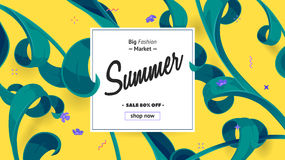 Summer sale offer with text and tropical leaves in a collage style. Offer 70 percent off. Royalty Free Stock Images