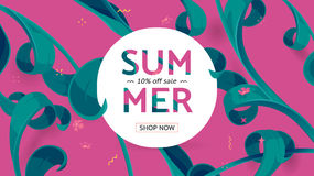 Summer sale offer with text and tropical leaves in a collage style. Offer 10 percent off. Button, festive frame decoration with abstract floral elements. Mother Stock Photography