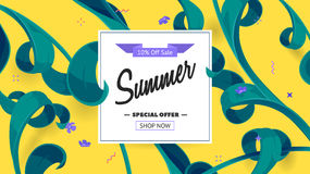 Summer sale offer with text and tropical leaves in a collage style. Offer 10 percent off. Button, festive frame decoration with abstract floral elements. Mother Vector Illustration