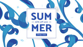 Summer sale offer with text and tropical leaves in a collage style. Offer 60 percent off. Button, festive frame decoration with abstract floral elements. Mother vector illustration