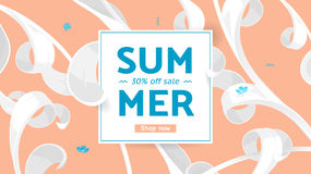 Summer sale offer with text and tropical leaves in a collage style. Offer 30 percent off. Stock Photo