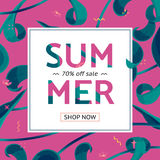 Summer sale offer with text and tropical leaves in a collage style. Offer 70 percent off. Button, festive frame decoration with abstract floral elements. Mother stock illustration