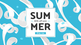 Summer sale offer with text and tropical leaves in a collage style. Offer 80 percent off. Stock Image