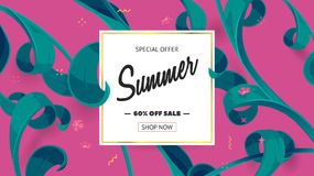 Summer sale offer with text and tropical leaves in a collage style. Offer 60 percent off. Button, festive frame decoration with abstract floral elements. Mother royalty free illustration