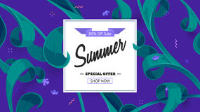 Summer sale offer with text and tropical leaves in a collage style. Offer 80 percent off. Royalty Free Stock Image