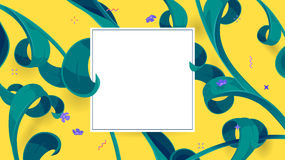 Summer sale offer with tropical leaves in a collage style and empty space for text. Button, festive frame decoration with abstract floral elements. Mother`s day Royalty Free Stock Images