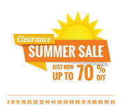 Summer Sale orange tag heading design on white for banner or pos Stock Image