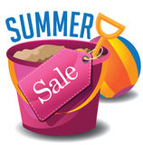 Summer sale pail and shovel. Royalty Free Stock Photos