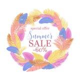Summer sale palm leaves round frame. Tropical leaves frame for summer sale design stock illustration