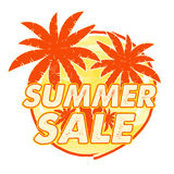 Summer sale with palms signs, round drawn label Royalty Free Stock Photo