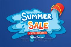 Summer sale with paper cut bucket and water for advertising blue. Background. Art and craft style. Use for ads, banner, poster, card, cover, stickers, badges Stock Photography