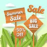 Summer Sale Paper Cut Out Banner with Labels and Tropical Landscape Stock Photography
