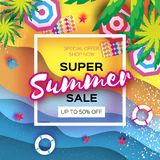 Summer Sale in paper cut style. Origami Beach rest. Summer vacantion poster. Top view on colorful beach elements. Square. Frame. space for text. Vector Stock Photography