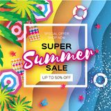Summer Sale in paper cut style. Origami Beach rest. Summer vacantion poster. Top view on colorful beach elements. Square. Frame. space for text. Vector Stock Photo