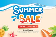 Summer sale with paper cut symbol and icon for advertising beach. Background. Art and craft style. Use for ads, banner, poster, card, cover, stickers, badges Stock Photos