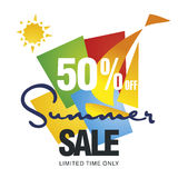 Summer sale 50 percent off discount offer sailboat color background vector. Summer sale 50 percent off discount big offer sailboat color background vector Stock Images