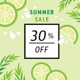 Summer sale 30 percent off with lime juice. Vector illustration Royalty Free Stock Photos