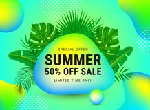Summer sale 50 percent off stock illustration