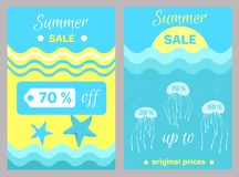 Summer Sale Poster Abstract Cartoon Jellyfishes Royalty Free Stock Photography