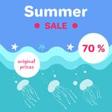 Summer Sale Poster Abstract Cartoon Jellyfishes Royalty Free Stock Images