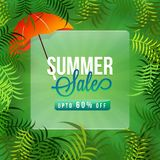 Summer sale, poster or banner design with 60% off offers, green. Leaves and orange umbrella Royalty Free Stock Image