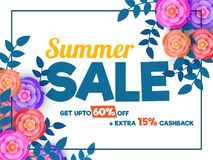 Summer sale poster, banner or flyer design with colourful paper. Summer sale poster, banner or flyer design with colorful paper flowers, and leaves upto 60% off Royalty Free Illustration
