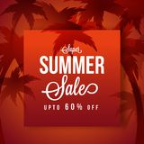 Summer Sale, poster, banner or flyer design with 60% off offers,. And red palm trees Royalty Free Stock Image