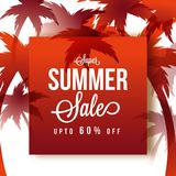 Summer Sale, poster, banner or flyer design with 60% off offers,. And red plam trees Stock Photos