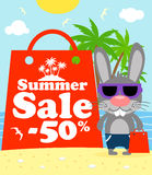 Summer sale poster with bunny Royalty Free Stock Images