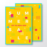 Summer Sale Poster, Card or Flyer Template. Modern Abstract Flat Swiss Style Background with Decorative Elements and Stock Photo