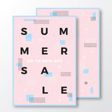Summer Sale Poster, Card or Flyer Template. Modern Abstract Flat Swiss Style Background with Decorative Elements and Stock Images