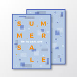 Summer Sale Poster, Card or Flyer Template. Modern Abstract Flat Swiss Style Background  Royalty Free Stock Photos