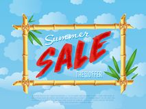 Summer sale poster in cartoon style Stock Photography