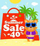 Summer sale poster with cat Royalty Free Stock Photos