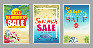 Summer Sale Poster with Colorful and Creative Beach royalty free illustration