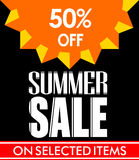 Summer Sale Poster Design in Black Background with Vector Sun Royalty Free Stock Image