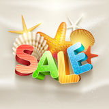 Summer Sale. Poster design template. Elements are layered separately in vector file Royalty Free Stock Photo