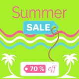 Summer Sale Poster with 70 Discount off Vector. Summer sale poster with 70 discount off, vector illustration green banner with palm trees and wavy colorful lines Vector Illustration